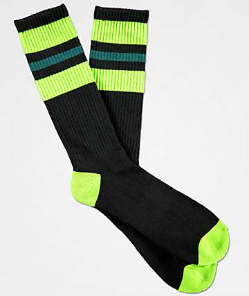 Zine Mania Black, Green & Balsam Crew Socks