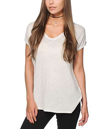 Zine Marla Heather White V-Neck Dolman T-Shirt