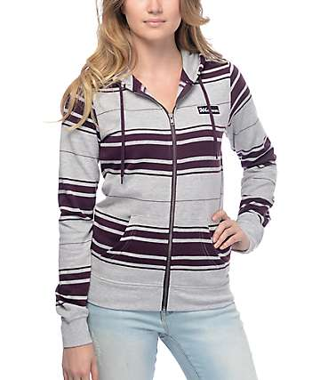 Zine Matilda Grey & Burgundy Stripe Zip Up Hoodie