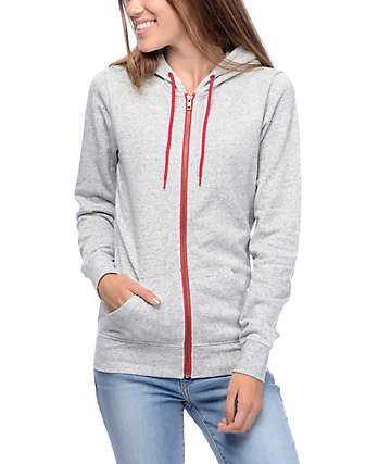 Zine Matilda Heather Grey & Red Zip Up Hoodie