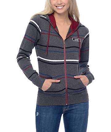 Zine Matilda Pin Stripe Grey Zip Up Hoodie