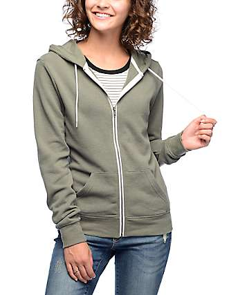 Zine Matilda Solid Green Zip Up Hoodie