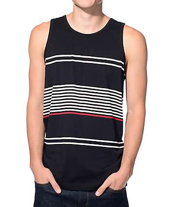 Zine Maybe Later Black, White, and Red Stripe Tank Top