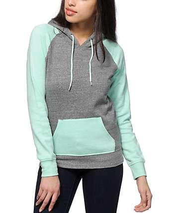 Zine Mint & Charcoal Contrast Hoodie