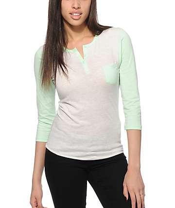 Zine Mint & White Heather Henley Shirt
