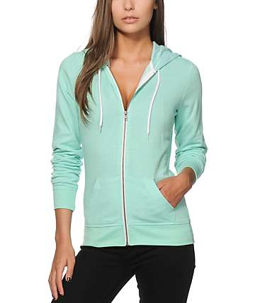 Zine Mint Speckle Zip Up Hoodie