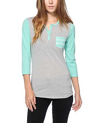 Zine Mint Tribal Pocket Henley Shirt