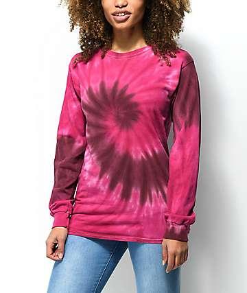 Zine Monroe camiseta de manga larga con efecto tie dye en rosa y rojo