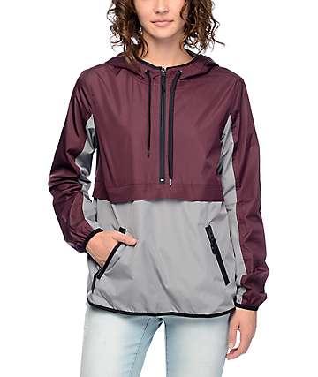 Zine Myla Charcoal & Blackberry Pullover Windbreaker Jacket