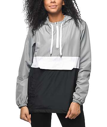 Zine Neala chaqueta cortavientos en gris, blanco y negro