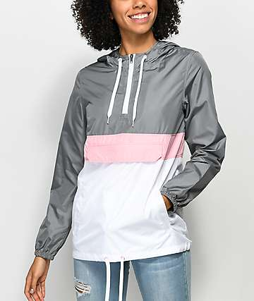 Zine Neve Grey, White & Pink Pullover Windbreaker