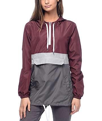 Zine Neve chaqueta cortavientos en colores gris, plomo y vino