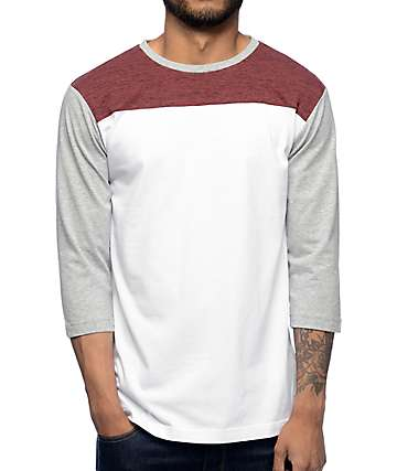 Zine No Walls Burgundy, White, & Grey Baseball T-Shirt