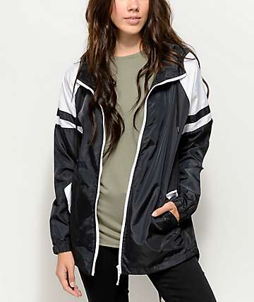 Zine Octavia Black & White Elongated Windbreaker Jacket