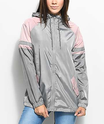 Zine Octavia Grey & Pink Elongated Windbreaker Jacket