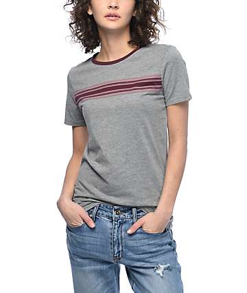 Zine Oren Charcoal & Burgundy Stripe T-Shirt