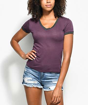 Zine Ori V-Neck Burgundy T-Shirt