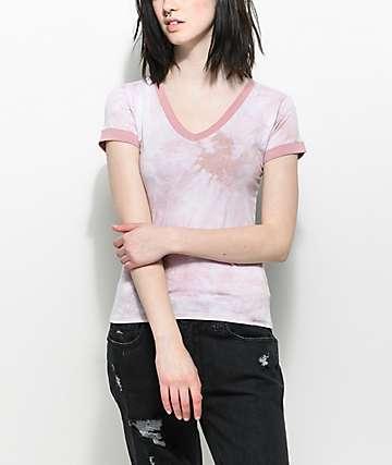 Zine Ori camiseta con efecto tie dye en rosa y cuello en V