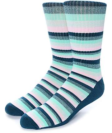 Zine Otherside Blue, Mint & Pink Crew Socks