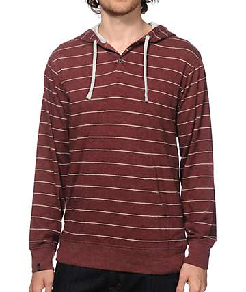 Zine Otherside Stripe Henley Hooded Shirt