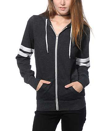 Zine PSI Charcoal & White Athletic Stripe Zip Up Hoodie