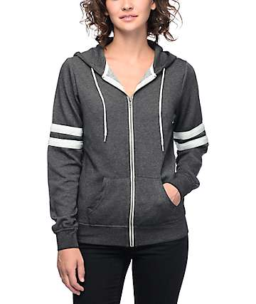 Zine PSI Grey & Blue Athletic Stripe Zip Up Hoodie