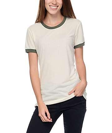 Zine Paul White & Green Ringer T-Shirt