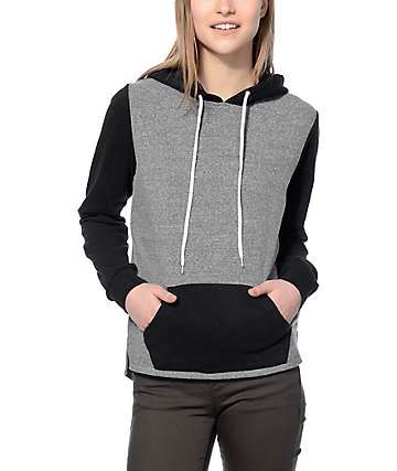 Zine Perez Black & Grey Colorblock Hoodie