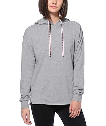 Zine Perez Jacquard Drawstrings Heather Grey Hoodie