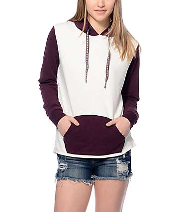 Zine Perez Oatmeal & Blackberry Colorblock Hoodie