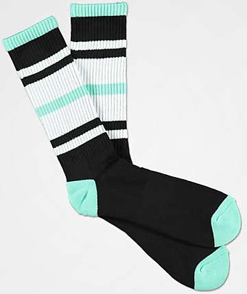 Zine Phantom Black & Mint Crew Socks