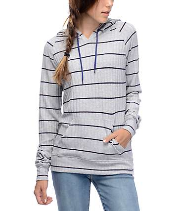 Zine Phi Striped Grey & Navy Striped Hoodie