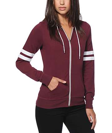 Zine Psi Athletic Stripe Fig Zip Up Hoodie