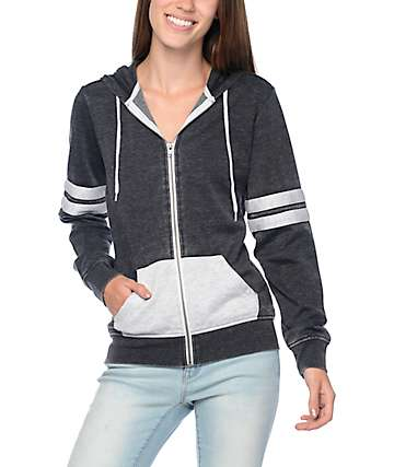 Zine Psi Black & Grey Athletic Stripe Zip Up Hoodie