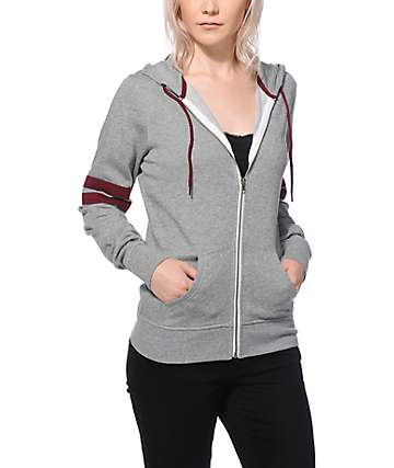 Zine Psi Grey & Burgundy Athletic Stripe Zip Up Hoodie