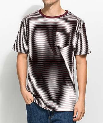 Zine Quarter Striped Burgundy T-Shirt