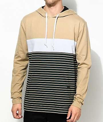 Zine Rafi camiseta con capucha a rayas en blanco, negro y color caqui