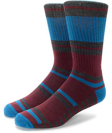 Zine Ranger Blue, Burgundy & Charcoal Crew Socks