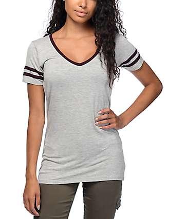 Zine Reid Grey V-Neck T-Shirt