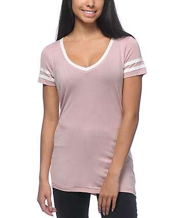Zine Reid Mauve V-Neck T-Shirt