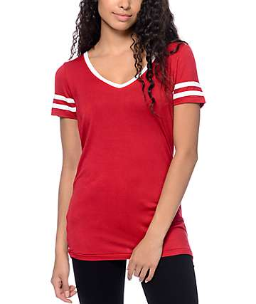 Zine Reid V-Neck Red T-Shirt