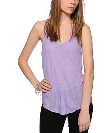 Zine Rho Lavender Ribbed Tank Top