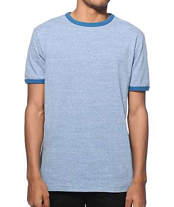 Zine Ringer Heather Blue T-Shirt