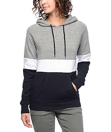 Zine Sheena Tri Block Black, White & Grey Hoodie