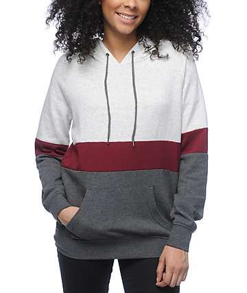 Zine Sheena Tri Block Grey & Burgundy Hoodie