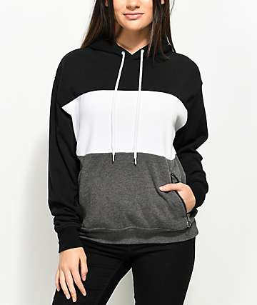 Zine Shenae Black & Grey Colorblock Hoodie