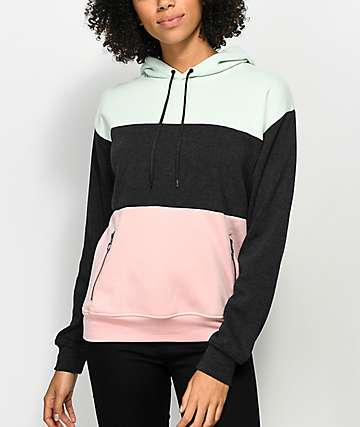 Zine Shenae Pink, Green & Grey Colorblock Hoodie
