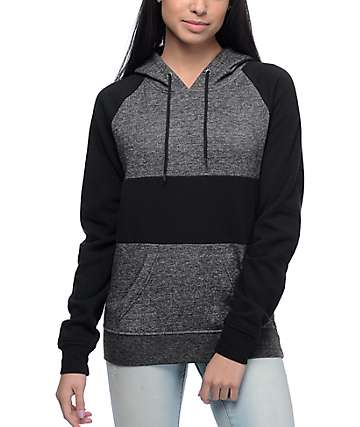 Zine Sherley Speckled Black Color Blocked Hoodie