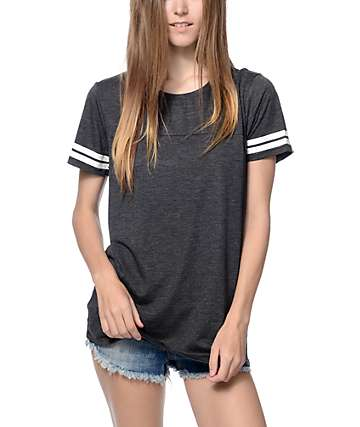 Zine Sherman Heather Black & White Stripe T-Shirt