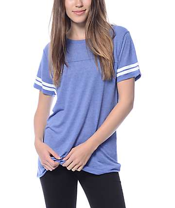 Zine Sherman Heather Blue & White Stripe T-Shirt